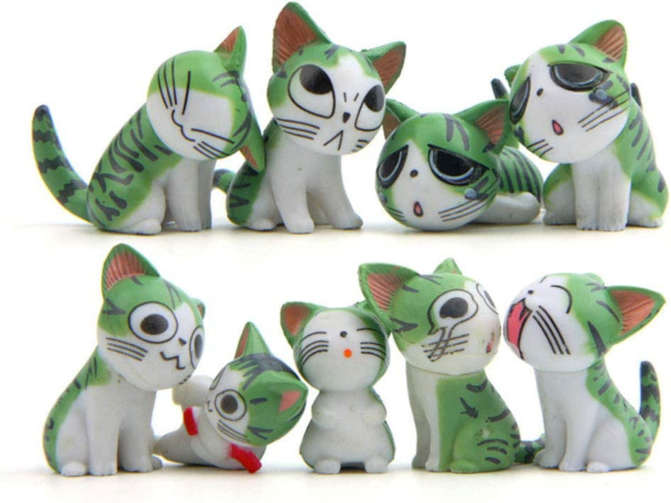9 Pcs Cat Figurines, Chi's Sweet Home Cat Animal Collection Toy for Miniature Fairy Garden, Cake Topper Decoration (Green)
