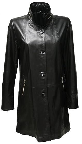 """Zimmert """"Belinda"""" Echt Leder Mantel in Schwarz für Damen aus weichem Lammnappa, bequemer Schnitt, Kurzmantel, Lederswinger bis Größe 52"""