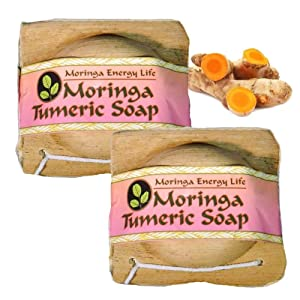 MORINGA TURMERIC SOAP: Two 3.4 oz bars in a natural palm frond package! Nourish Your Skin with Moringa Seed Oil & Turmeric Soap