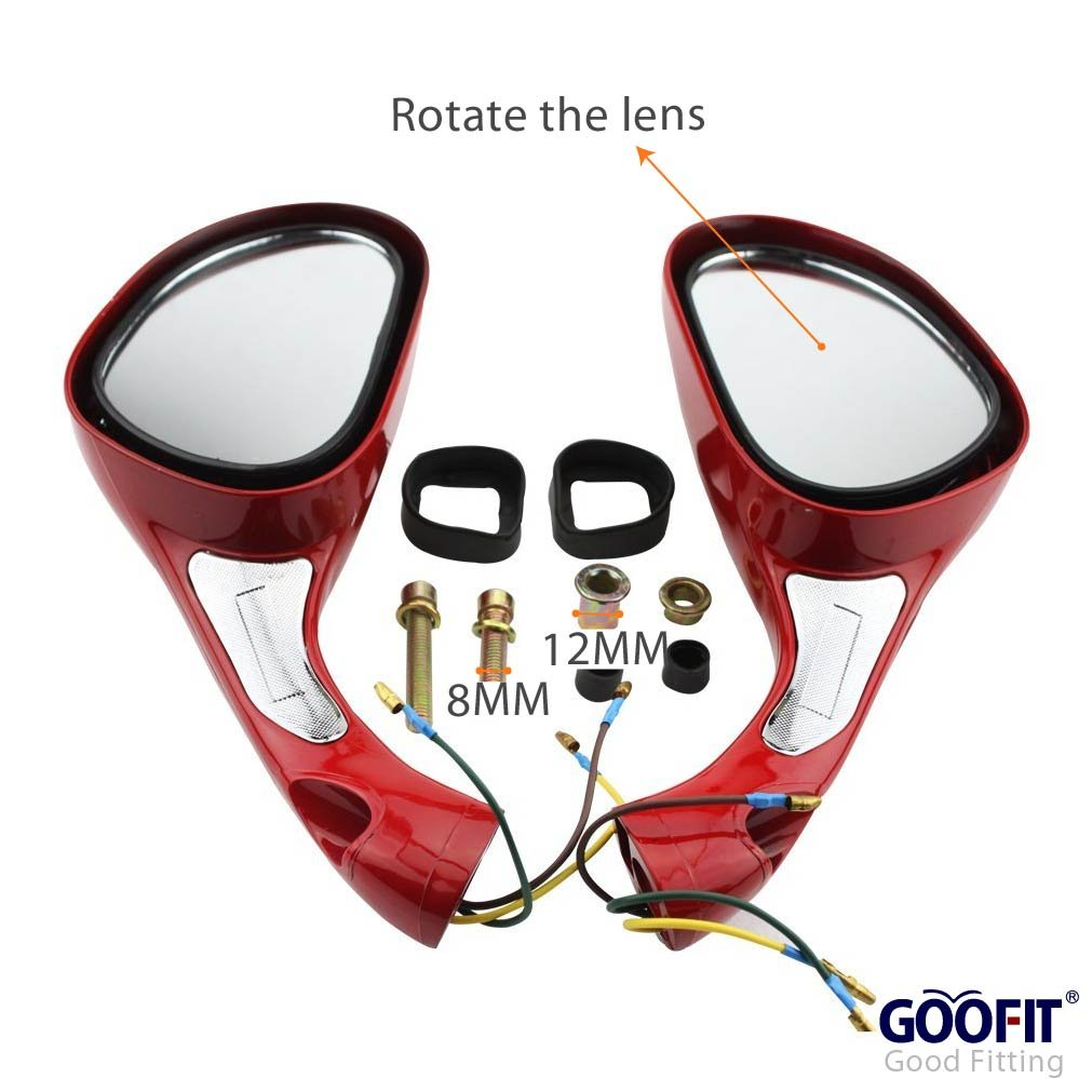 GOOFIT 8mm Scooter Rearview Mirrors 1 Pair for 50cc 70cc 90cc 110cc 125cc 150cc 200cc 250cc Moped Motorcycle Black Group-82