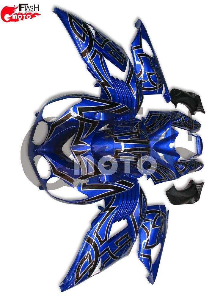 FlashMoto kawasaki 川崎 カワサキ ZX14R ZZ-R1400 2006 2007 2008 2009 2010 2011用フェアリング 塗装済 オートバイ用射出成型ABS樹脂ボディワークのフェアリングキットセット (ブルー,ブラック)   B07L8B147V