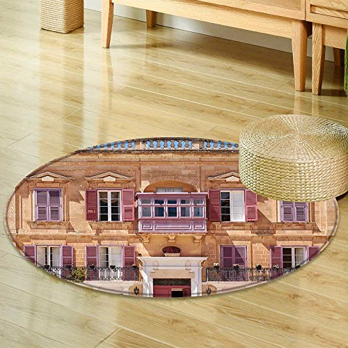 """Small Round Rug CarpetView of one of The Residential Houses in mdina with Traditional Maltese StyleDoor mat Indoors Bathroom Mats Non Slip-Round 47"""""""
