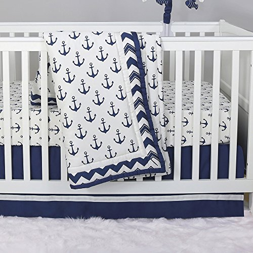 (Anchor Nautical 3 Piece Baby Crib Bedding Set in Navy Blue by The Peanut)