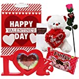 #10: Valentine's Day Gift Set | Great Idea for Him or Her | Complete Package with Plush Teddy Bear, Rose, Chocolate Candy and More | 6 Piece Bundle