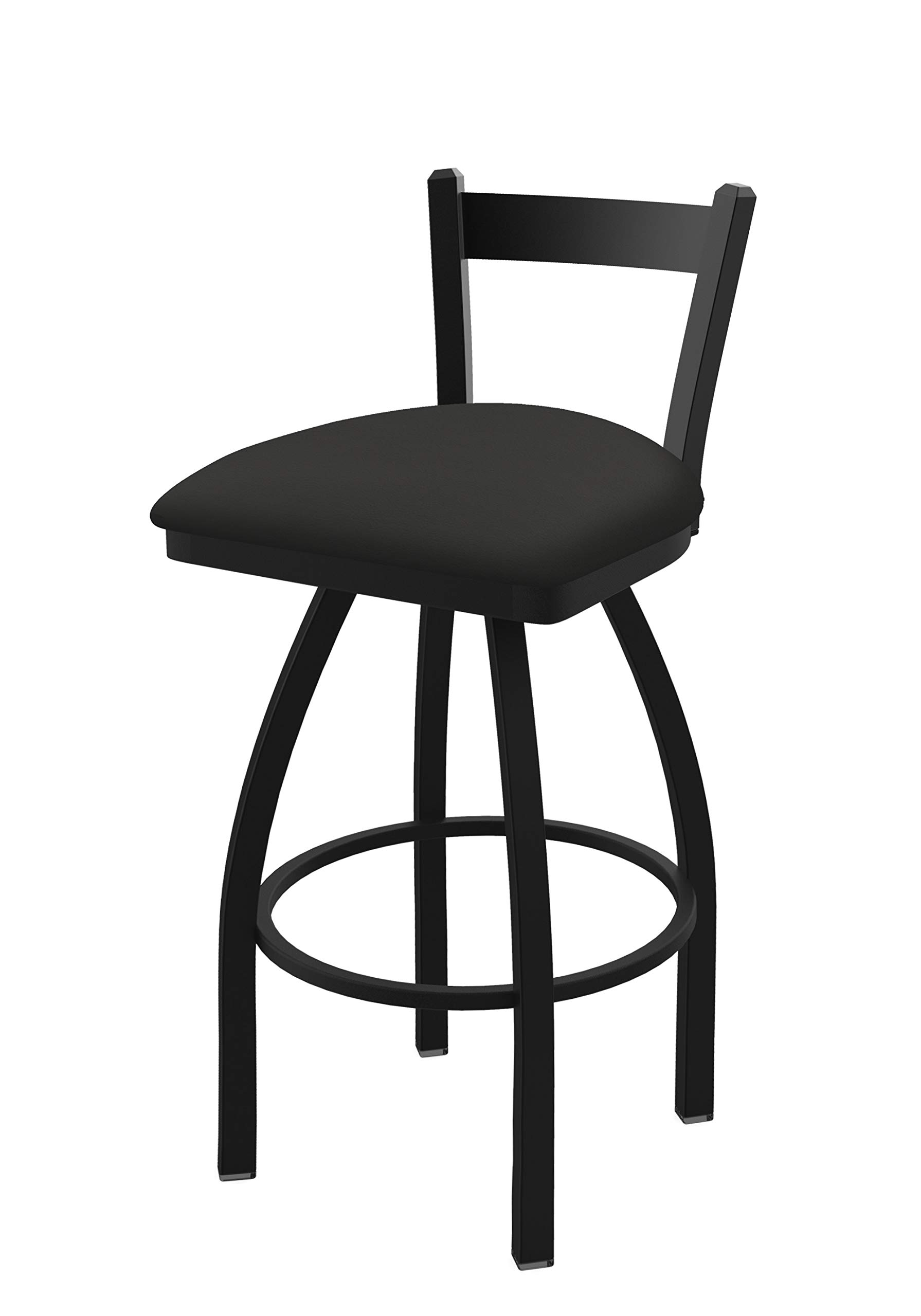 Holland Bar Stool Co. 82125BW008 821 Catalina 25'' Low Back Swivel Counter Black Wrinkle Finish and Canter Iron Seat Bar Stool