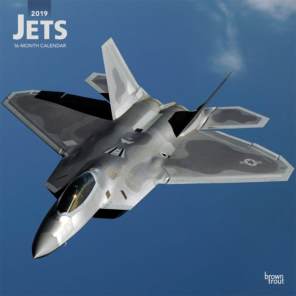 Jets 2019 12 x 12 Inch Monthly Square Wall Calendar, Airplane Aircraft Military Flight (Multilingual Edition)
