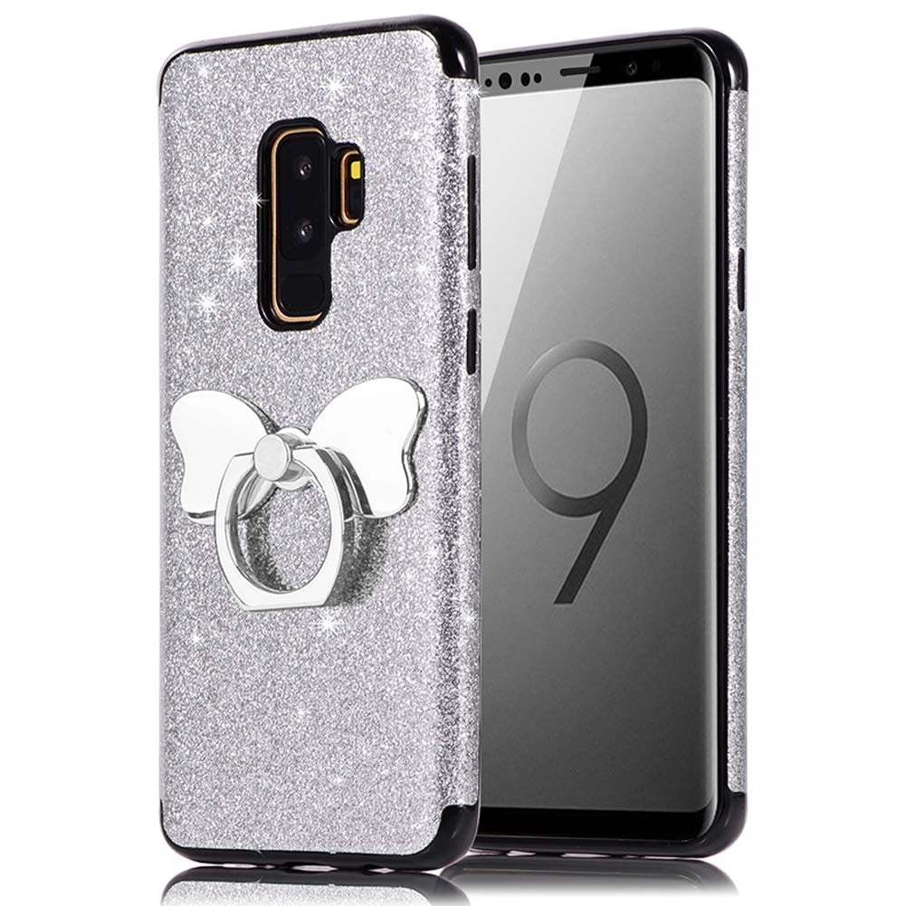 HUDDU Compatible for Handyh/ülle Samsung Galaxy S9 Plus Gold Shinny Glitzer Sparkles TPU Bling H/ülle 360 Rotation Ring Halter Stand Bowknot Halterung Silikon Schutzh/ülle R/ückseite M/ädchen