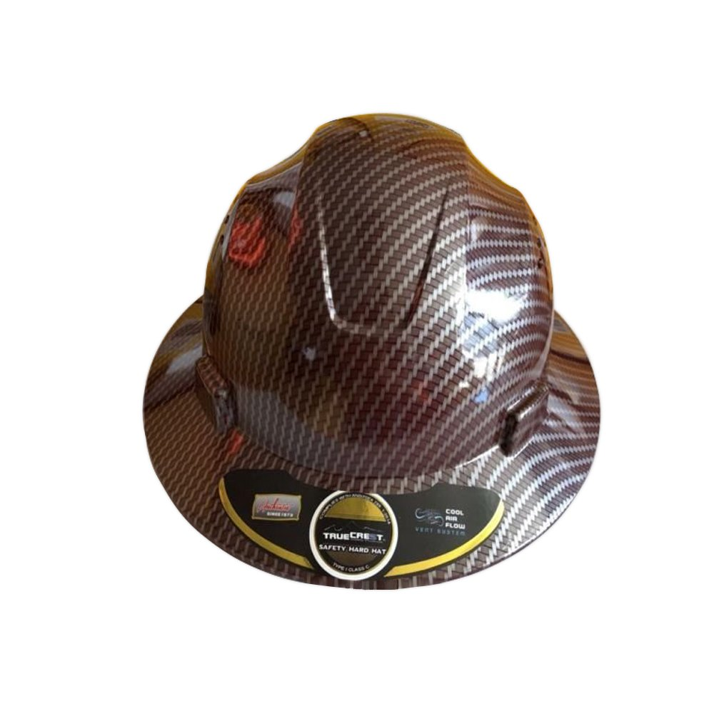 HDPE Hydro Dipped Red Full Brim Hard Hat with Fas-trac Suspension