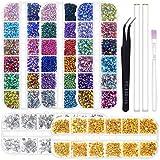 Anezus 6800Pcs Nail Art Rhinestones Nail Stone Gems Design Kit with Pickup Tools for Nail Art Supplies Accessories