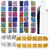 Anezus 6800Pcs Nail Art Rhinestones Nail Stone Gems Design Kit with Pickup Tools for Nail Art Supplies Accessories