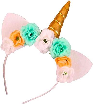 Newest Baby Girl Flower Cloth Unicorn Horn Hair Headband For Party Birthday Gift