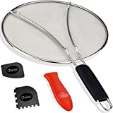 Chefast Grease Splatter Screen Set: 9.75-inch Oil Splash Guard, Cooking and Grill Pan Scrapers, and Silicone Hot Handle Holder - Stainless Steel Shield for Small and Medium Frying Pans and Skillets