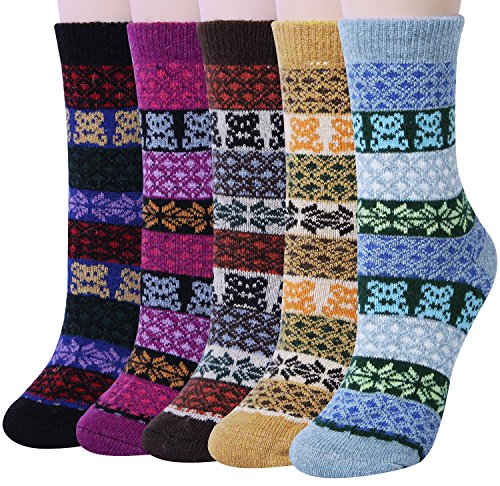 Womens Vintage Style Winter Warm Thick Knit Wool Cozy Crew Socks – 5 Pairs,One Size,Multicolor