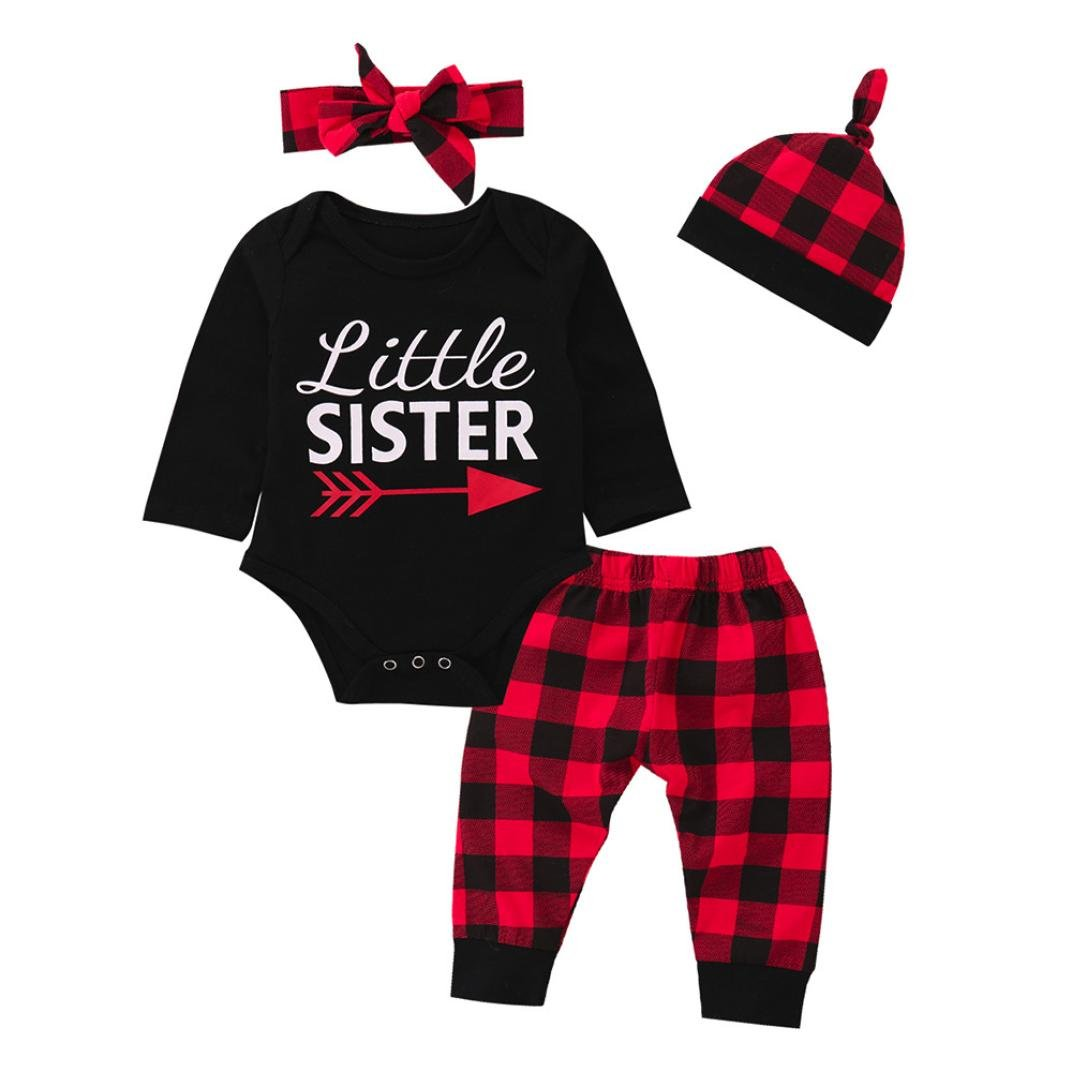 Lavany Baby Clothes Set Long Sleeve 4PC Baby Girl Arrow Print Tops Plaid Pants Suit
