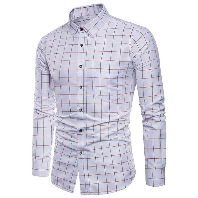 Camisas Casual Hombre Manga Larga, Covermason Camisas de Vestir Formales Cuadros Plaid Informal Formal de los Hombres: Amazon.es: Ropa y accesorios