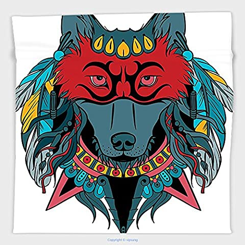 Vipsung Microfiber Ultra Soft Hand Towel-Tribal Indian Warrior Wolf Portrait With Mask Feathers Native American Animal Art Teal White And Red For Hotel Spa Beach Pool - Native American Art Masks