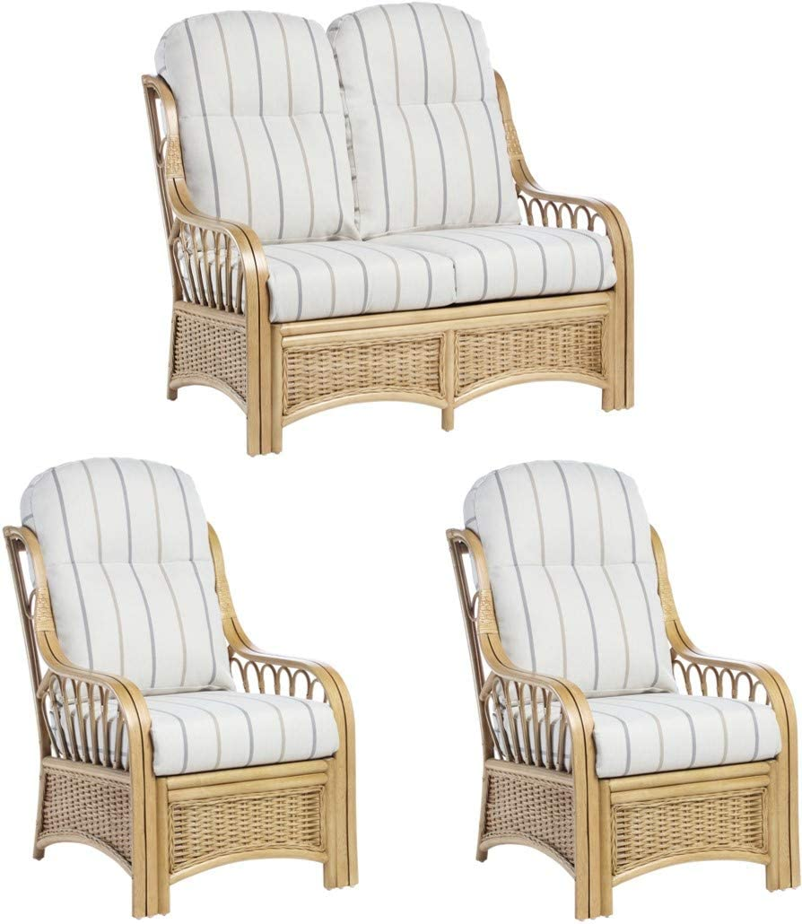 Desser Vale Conservatory Furniture Sofa & Chair Set Wicker Fully Assembled – Cane Natural Rattan with UK Manufactured Cushions in Linen Taupe Fabric – Settee & 2x Armchairs