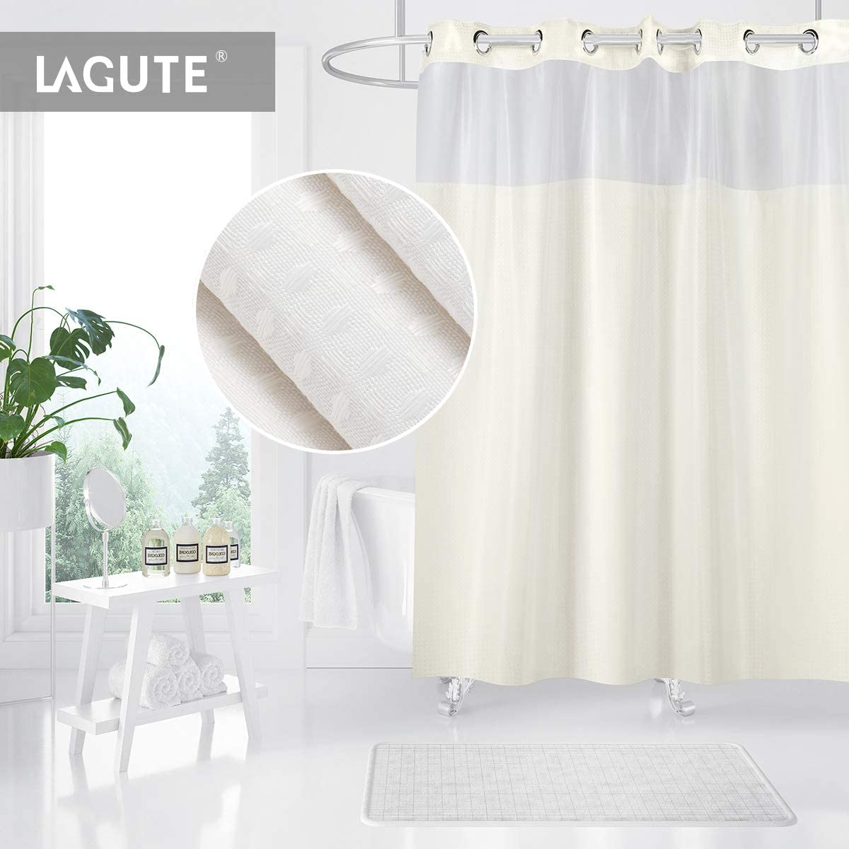 NO SNAP IN LINER Hookless Shower Curtain by COMFECTO, Cream Machine Washable 70x74 Inch Anti Bacterial Mold Mildew Resistant Hotel Bathroom Curtains with Light-Filtering Mesh Screen and Magnets