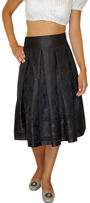exquisiter Wenger Damen Rock Trachtenrock Bella schwarz knielang Faltenrock mit traditionellem Webmuster