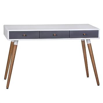 Kleiner Wei Er Schreibtisch , Finebuy Design Retro Konsolentisch Skandinavisch Mit 3 Schubladen