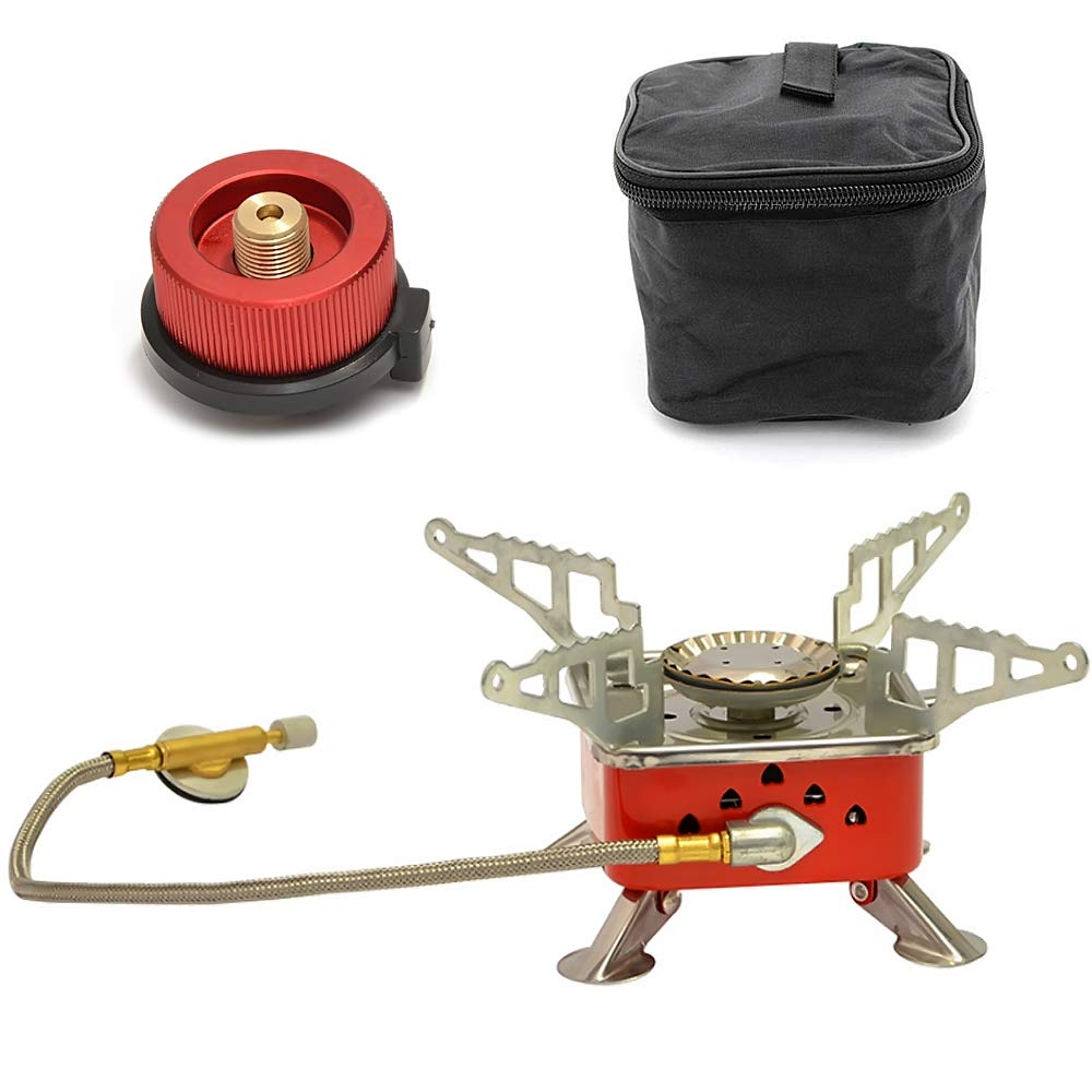BlueStraw Portable Camping Gas Stove with Gas Adapter Converter, Foldable Ultralight 4000W Propane & Butane Backpacking Stove Burner with Piezo Ignition for Outdoor Camping Hunting Hiking Picnic