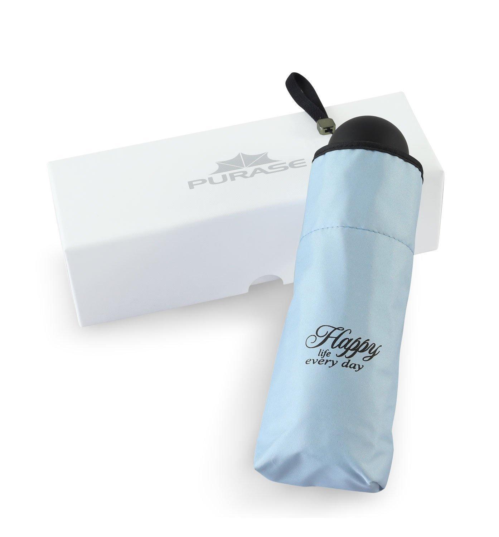 Purase Mini Pocket Travel Umbrella,UV Sun Compact Portable Waterproof Umbrella (blue)