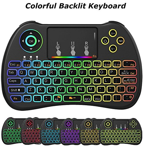 Price comparison product image Meerveil H9 2.4GHz Colorful Backlit Mini Wireless Keyboard with Mouse Touchpad Rechargeable Combos for Android TV Box,  Kodi, HTPC,  IPTV,  PC,  PS3 , Xbox 360,  Raspberry Pi 3, NVIDIA SHIELD TV