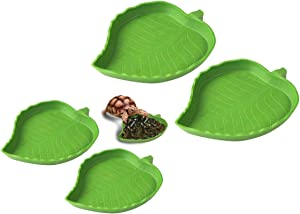qijun 4Pack Leaf Reptile Food and Water Bowl,for Lizards Tortoises Corn Snake or Small Reptiles Drinking and Eating,2 Sizes