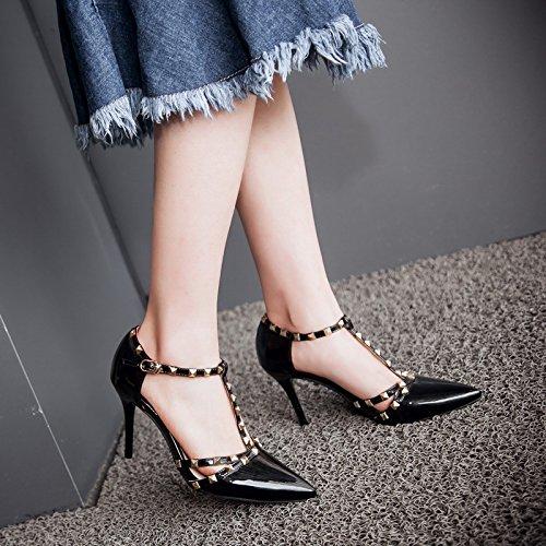 de ZHZNVX remaches de punta hebilla Nueva tacón sandalias Black de alto con en verano charol finos atractivas con gxzg6Rrqn
