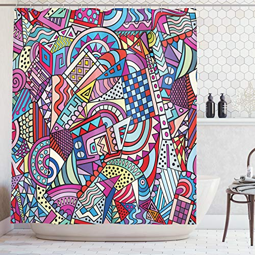 Ambesonne Psychedelic Decor Shower Curtain Set, Colorful Funky Art 90'S Theme Stained Glass Style Triangle and Squares Abstract Art Print, Bathroom Accessories, 69W X 70L Inches, Red Violet