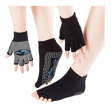 SwirlColor - Calcetines Antideslizantes para Yoga, Pilates, Ejercicio sin Dedos, con Puntos de Silicona Blancos