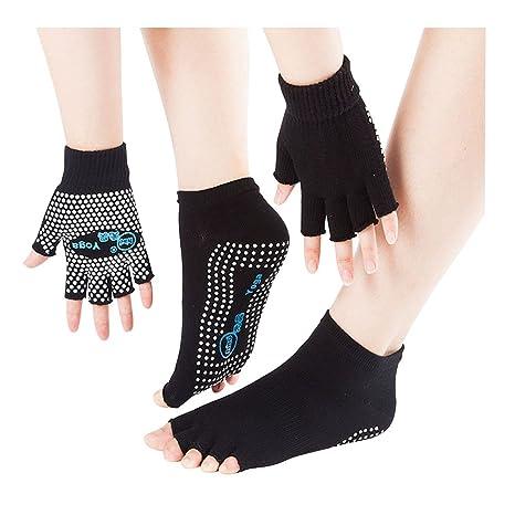 SwirlColor antidérapant Yoga Pilates Mitaines d exercice Grip Gants  Chaussettes avec des Points de Silicone 4bffc7a3750