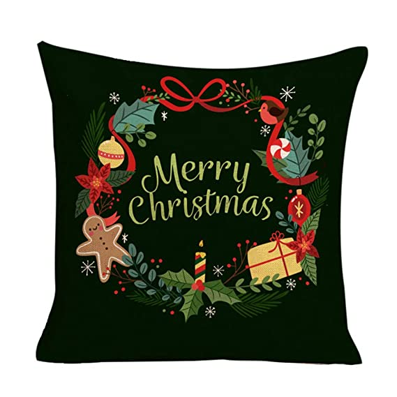 JiaMeng Fundas De Cojines, Happy Christmas Cushion Cover Funda de Almohada Cuadrada Funda de Almohada geométrica Simple 45cm x 45cm: Amazon.es: Ropa y ...