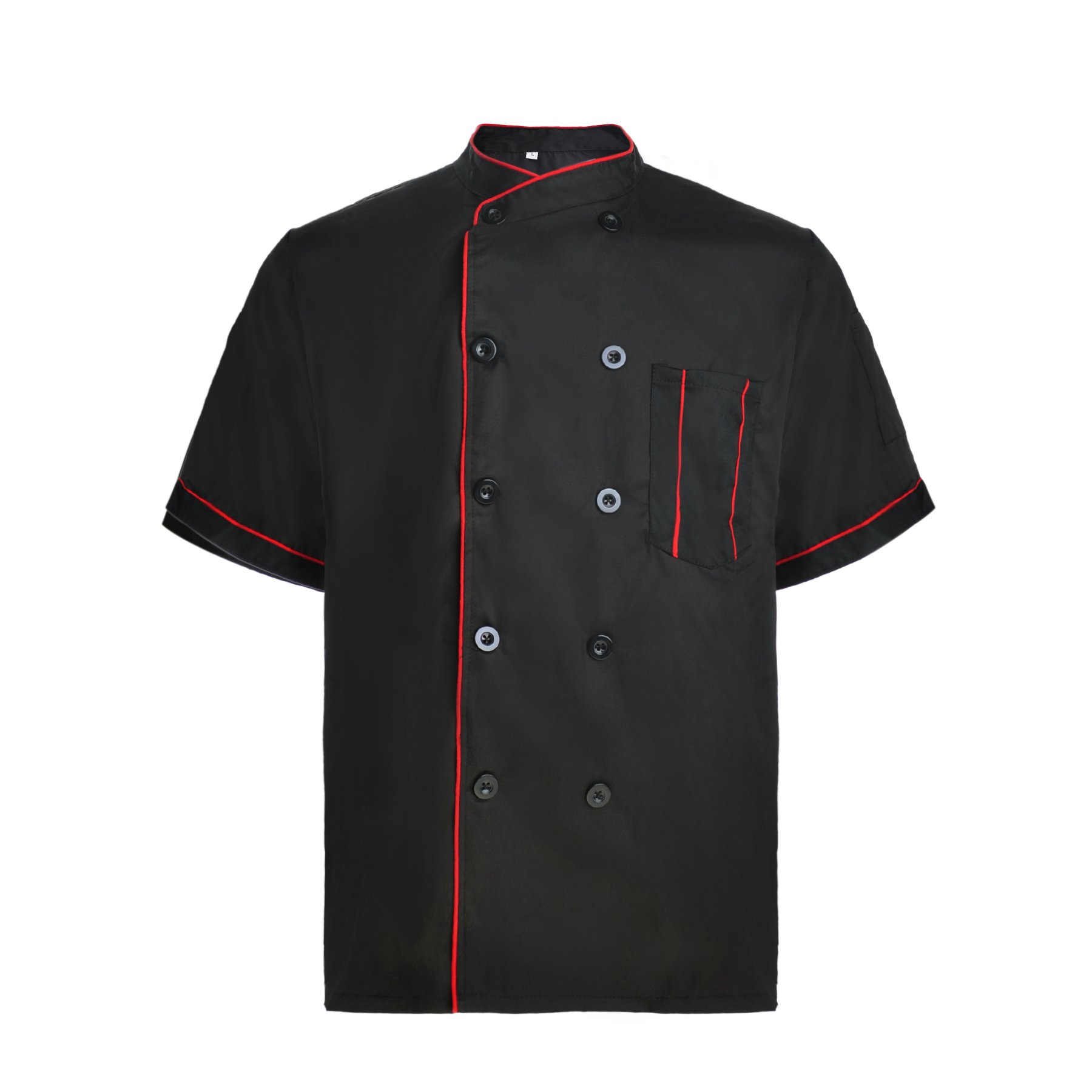 TopTie Short Sleeve Chef Jacket Kitchen Cook Coat Stripe Uniforms-Black-L by TopTie