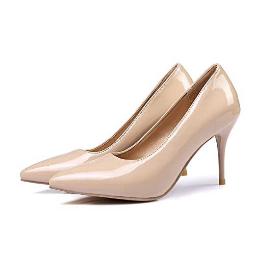 bd3471a64fb Mango-ice Classic Black Red Women Glossy Nude Pumps Stiletto High ...
