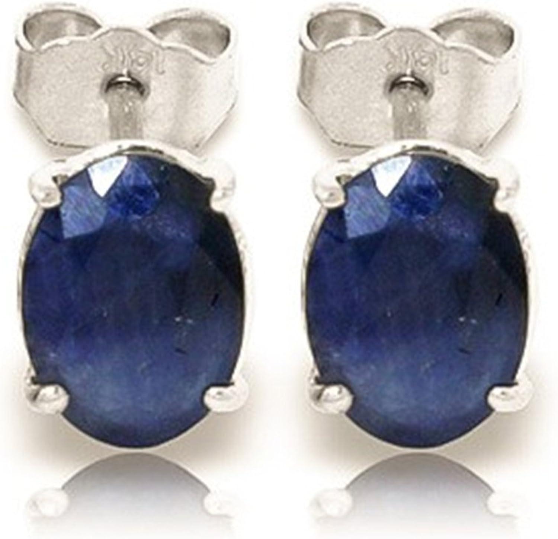 Genuine 2.00Ct piedras preciosas studs oval Cut Azul Natural zafiro pendientes sólido 14KT oro blanco Forever quilates pendientes para mujer