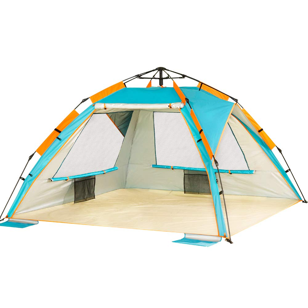 ZOMAKE Pop Up Beach Tent - Instant Sun Shelter Cabana, Portable Beach Shade with SPF 50+ UV Protection for Kids & Family(Lake Blue) by ZOMAKE