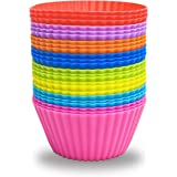 24 Pack Silicone Baking Cups Reusable Muffin Liners Non-Stick Cup Cake Molds Set Cupcake Silicone Liner Standard Size Silicon
