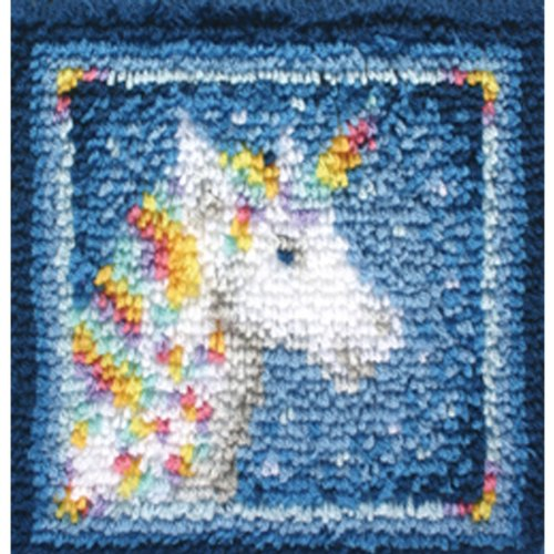 Spinrite Wonderart Latch Hook Kit 12''X12''-Unicorn by Spinrite