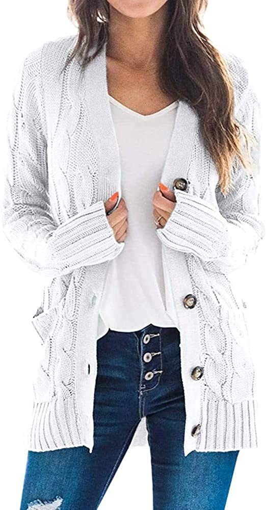 GAOQIANG Womens Cable Knit Button Down Cardigan Open Front Long Sleeve Loose Fit Sweaters Coat with Pockets