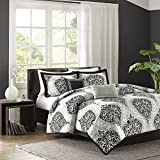 intelligent design senna all seasons comforter set 5 piece blackgrey damask pattern king size includes 1 comforter