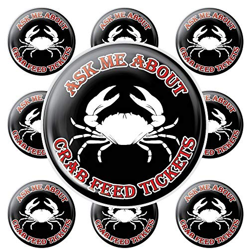 Ask Me About Crab Feed Buttons - Pack of 10 ()