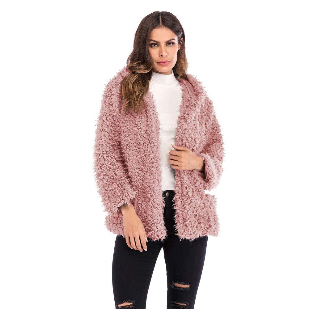 AOJIAN Women Jacket Long Sleeve Outwear Plush Fuzzy Pockets Open Front Pure Color Coat Pink