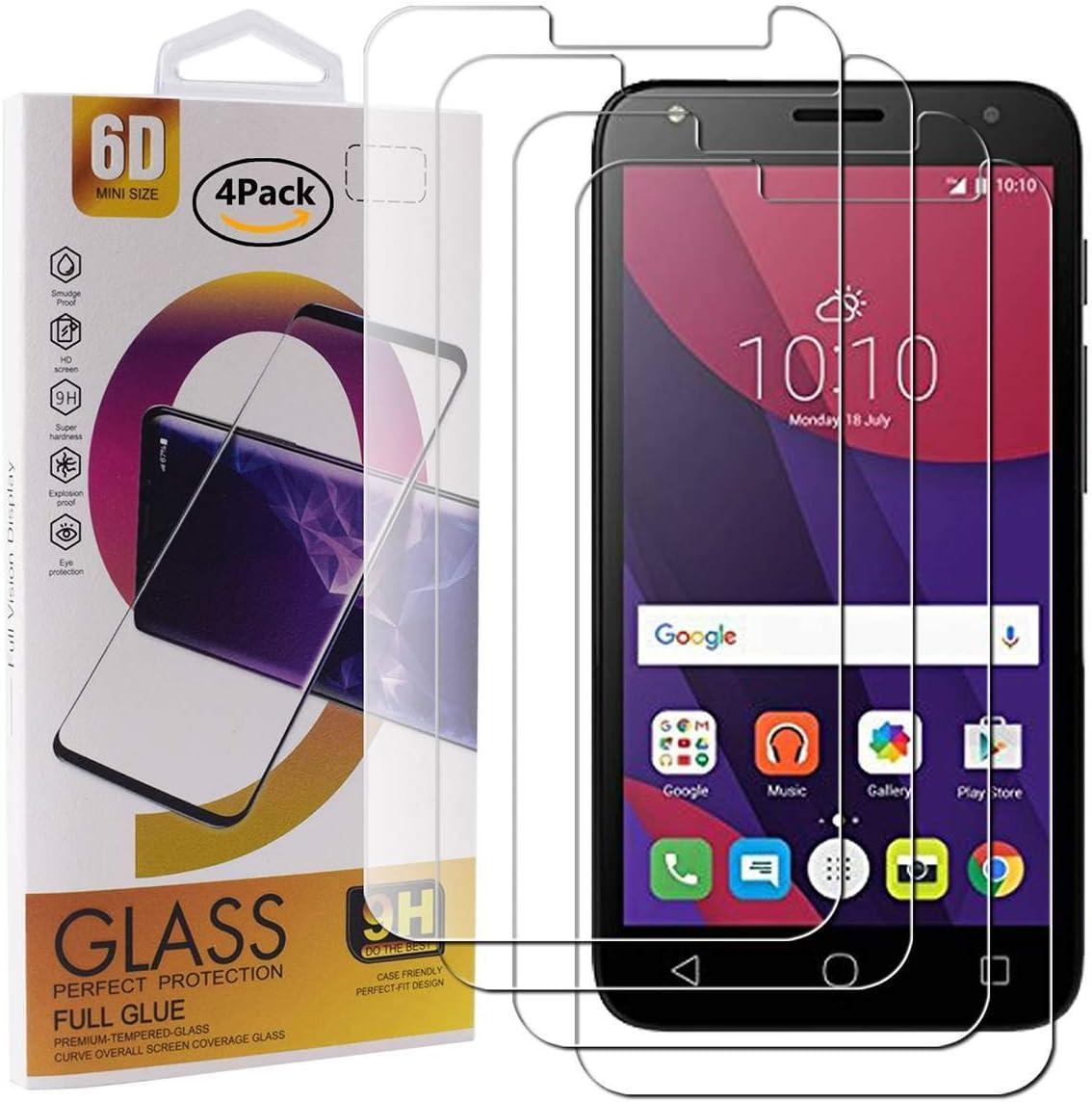 Guran 4 Paquete Cristal Templado Protector de Pantalla para Alcatel Pixi4 5.0 (3G/4G Version, 5010D 5045X) Smartphone 9H Dureza Anti-Ara?azos Alta Definicion Transparente Película