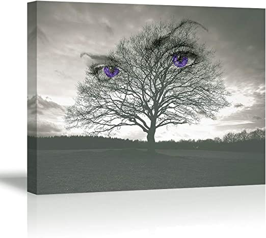LANDSCAPE CANVAS ART PICTURE BLACK WHITE GREY BIG MOON TREES WALL PRINT 4 PANELS