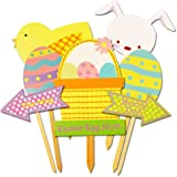 Easter Egg Hunt Decorations Set -- 7 Deluxe Wooden Easter Signs for Yard (Easter Decorations Outdoor)
