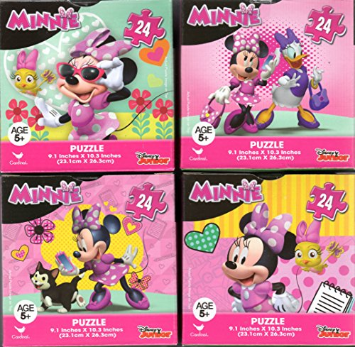 (Minnie Mouse Bundle of 4 24 Pieces in Cube Shaped Boxes. Gift set of Puzzles for Girls Ages 5+ 10.3 Inch X 9.1 Inch Puzzle)