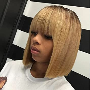 Kerrywigs Brazilian Hair Ombre Blonde Bob Cut Full Lace Human Hair Wigs With Bangs For Black Women Glueless Short Lace Front Wigs Fringe 130 Density