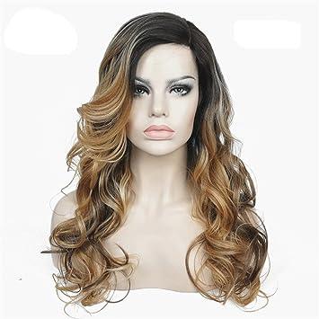 Wigs Pelucas Delanteras De Encaje Monofilamento Calcomanía De Lado Lateral Ok Ombre Marrón/Rubio Peluca