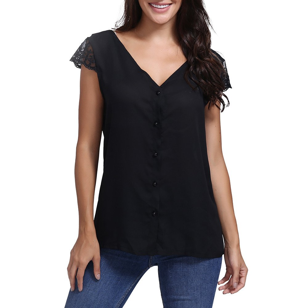 Lmx+3f Womens Sexy Lace Short Sleeve T-Shirt Top Deep V Neck Chiffon Tops Backless Blouse Solid Soft Comfy Tops Black